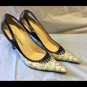 Dolce & Gabbana Leather Snakeskin Cutout Heels 9